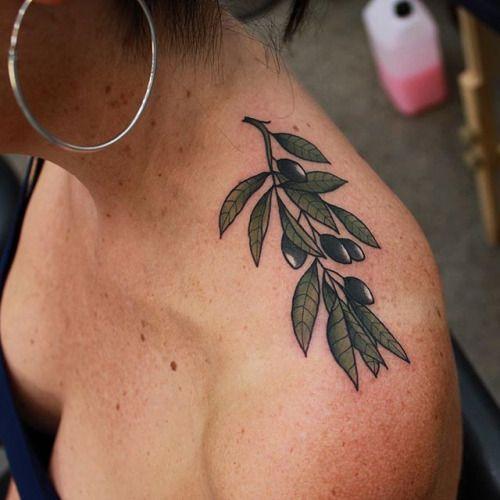 Inked shoulder Olive branch tattoo