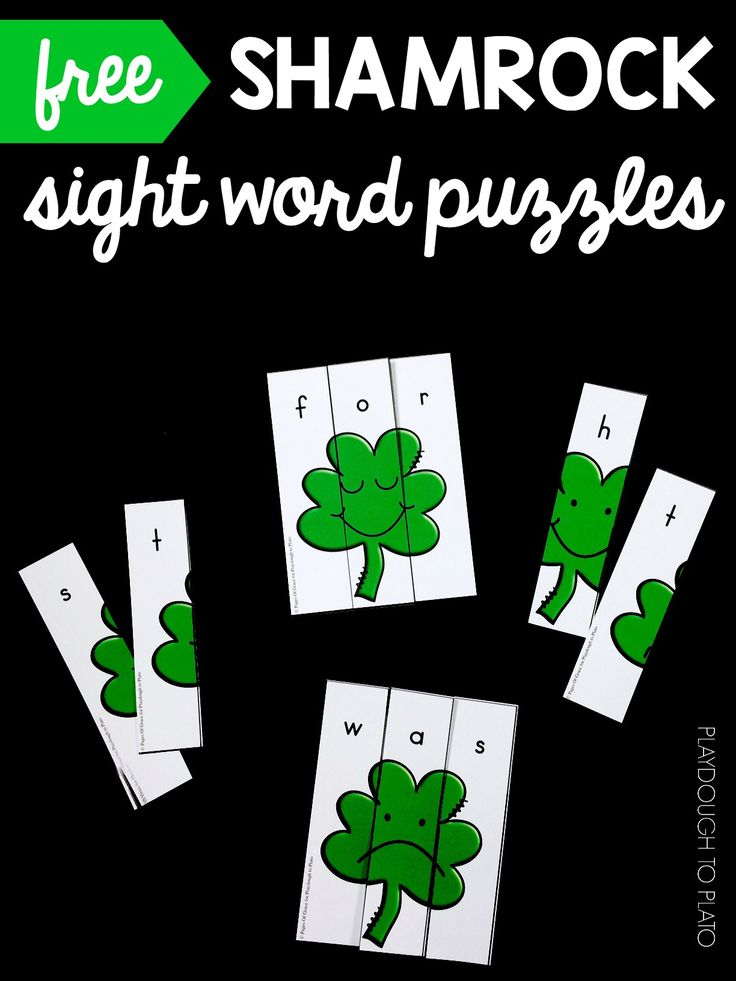Activity for ages 4 to 6. These shamrock sight word puzzles are the perfect addition to your March literacy centers and word work time. Grab your set below and then hop over to download our popular St. Patrick's Day Activity Pack too! Getting Ready To prep this activity, I printed each page on card stock …