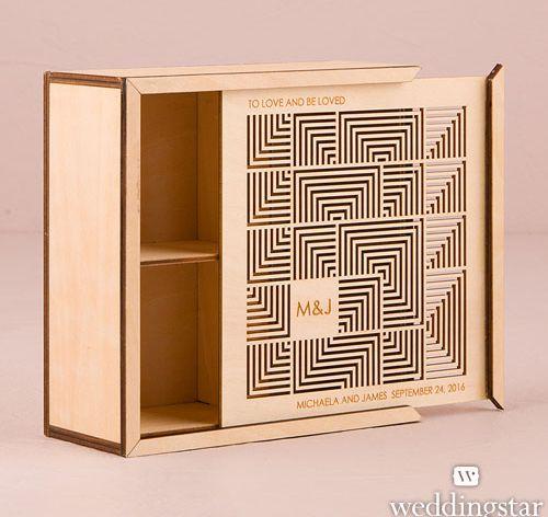 Cubist Laser Cut Natural Wood Keepsake Box