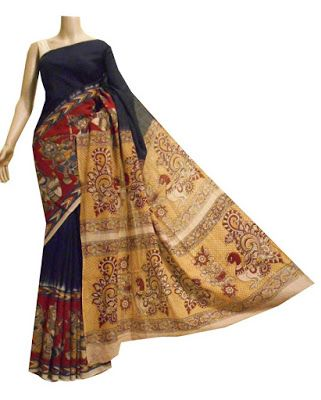 Turquoise cotton saree with Kalamkari border and pallu | Buy Online Kalamkari Sarees | Elegant Fashion Wear