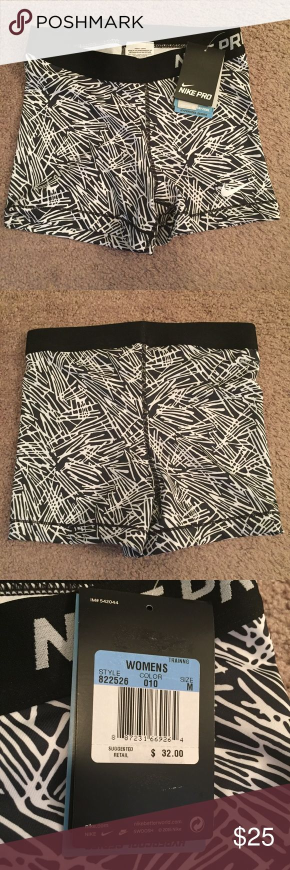 """Nike Pro Dri-Fit 3"""" Shorts NWT Size M Nike Pro dri-fit shorts. 3"""" shorts in black and white print. New with tags never worn. Women's size medium. NO TRADES. All offers please use button. Nike Shorts"""