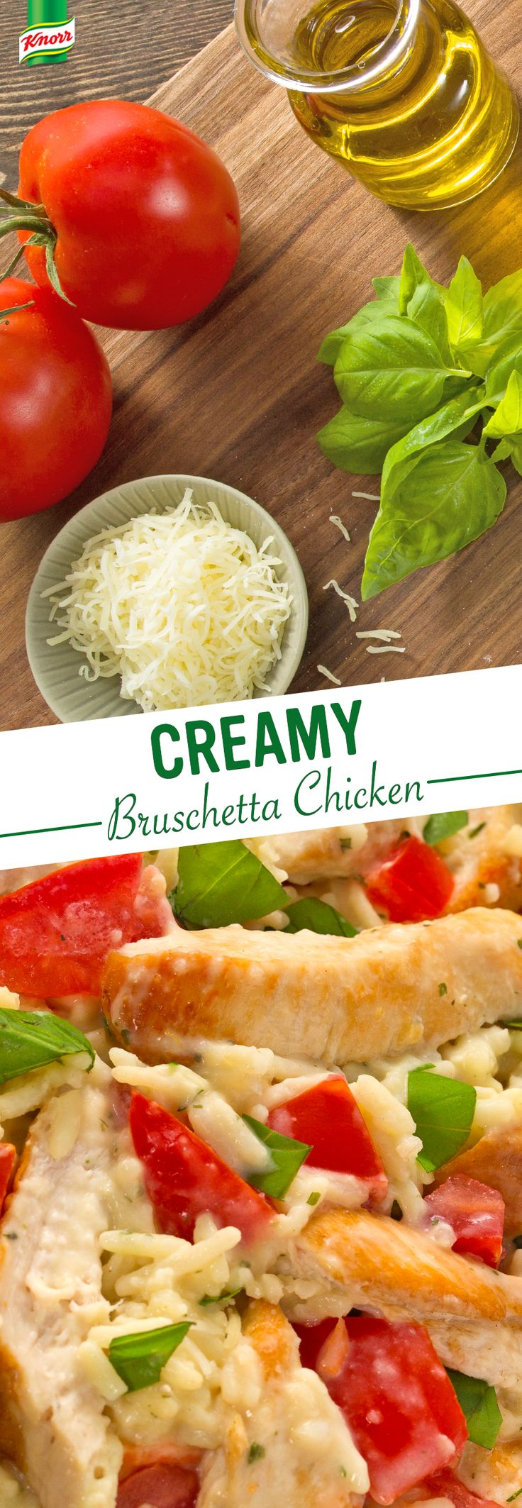 Have you tried Knorr's recipe for easy, homemade Creamy Bruschetta Chicken? Chicken, tomatoes, rice, mozzarella, and basil combine for a simple, flavorful family dinner.