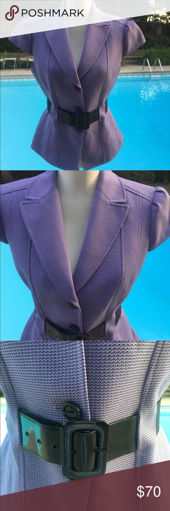 💜💜GORGEOUS Tahari short sleeve blazer NWOT Tahari GORGEOUS purple and black short sleeve fully lined blazer - Patton leather look belt with elastic sides giving extra comfort. This looks amazing with black pants/skirt!!!  Classy and sophisticated!  NWOT Tahari Jackets & Coats Blazers