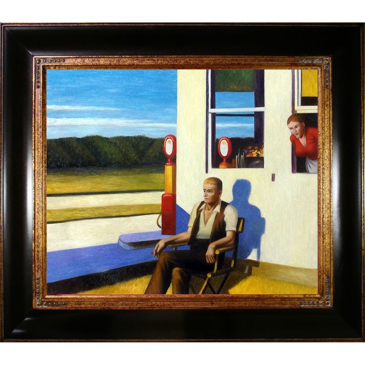 La Pastiche Edward Hopper 'Four Lane Road 1956' Hand Painted Framed Art