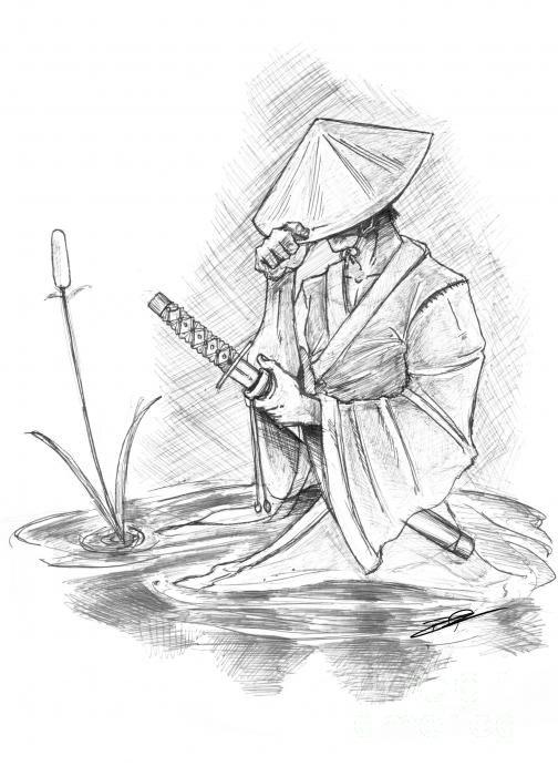 Japanese Samurai Drawings | Ronin Samurai Drawing by Baron Pollak - Ronin Samurai Fine Art Prints ...