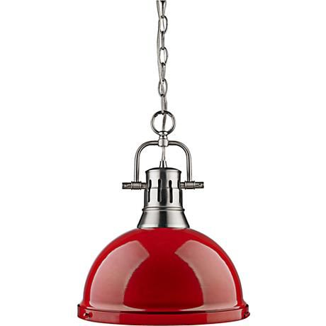 """Duncan Pewter 14"""" Wide Contemporary Red Pendant Light"""