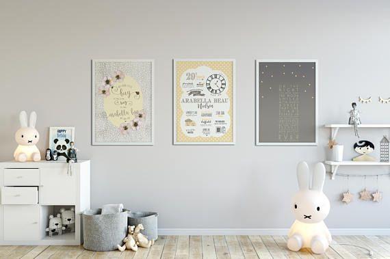 Trio of Birth Announcement Prints Nursery Art New baby Gift