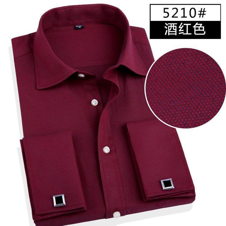 Fashion Men Business Shirts French Cuff Button Men Dress Shirts Cotton Solid