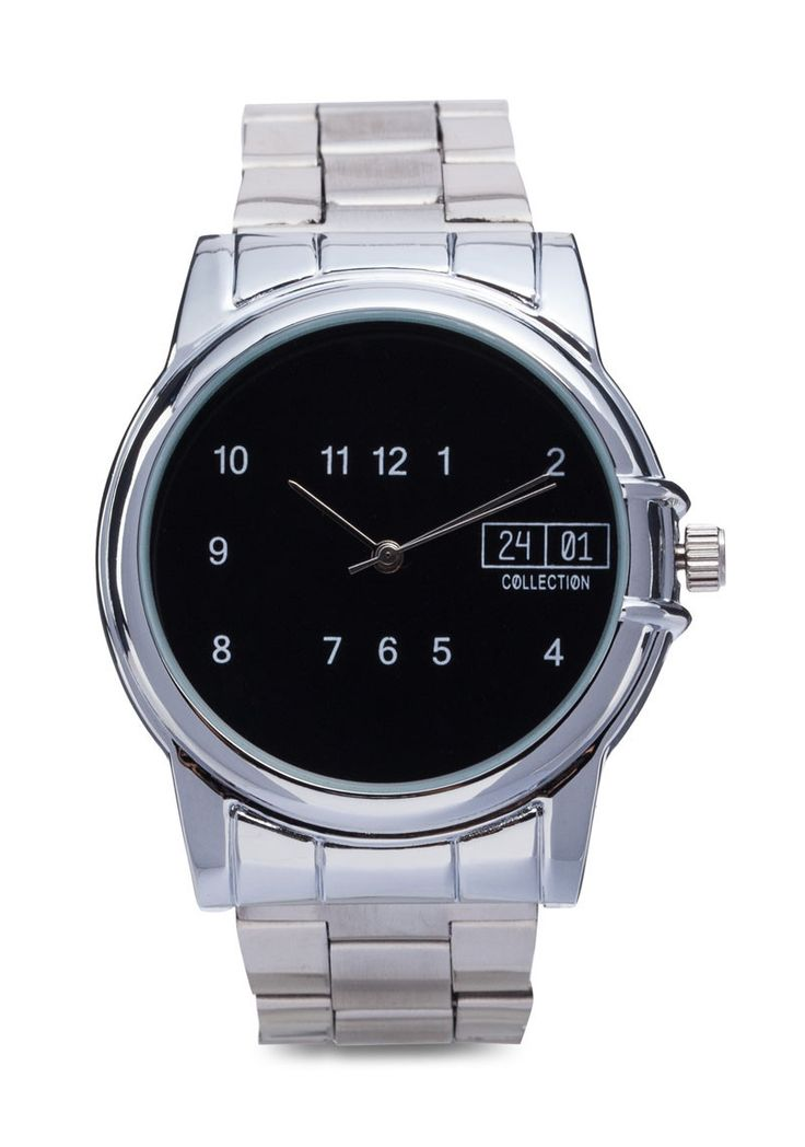 Men's Metal Strap Watch by 24:01. Silver watch with round shaped case, classic style watch with black color on face display, made from metal alloy, this analog watch has a unique display, fold over clasp fastening, diameter 4 cm, strap length 12 cm. n elegant accesorie with silver tone finish. Find more: