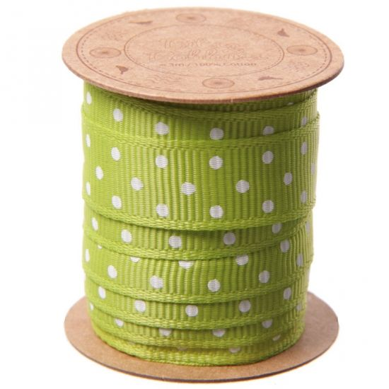 Groen lint met witte stippen 3 meter