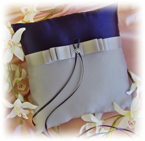 Weddings Ring Bearer Pillow - Navy Blue and Grey - Weddings Ceremony Decor