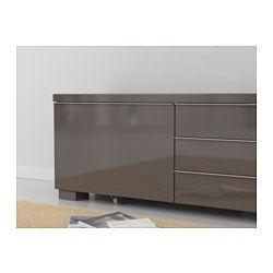 IKEA - BESTÅ BURS, Mobile TV, lucido grigio, , C'è tanto spazio per i videogiochi e gli accessori nei due cassetti capienti.Se vuoi puoi togliere i due contenitori dai cassetti.