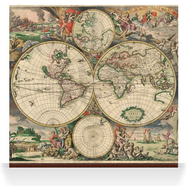 World Map. A range of old map images which could be used as wall displays/wallpapers.