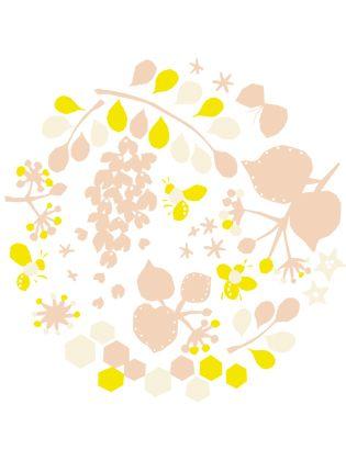 MYSTAR  蜜蜂と菩提樹などを題材にMYSTARが作る蜂蜜を原料にした化粧品のイメージイラストとリピートパターンを作る。  企画:MYSTAR  デザイン:岡理恵子  内容:illustration  2010.march
