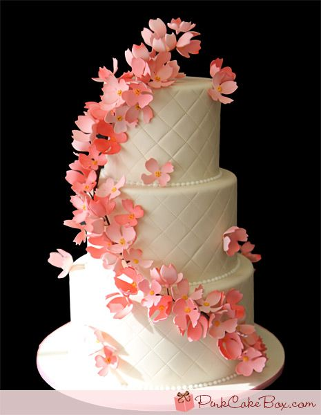 Quilted Pink Dogwood Wedding Cake » Spring Wedding Cakes
