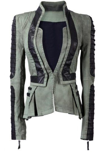 Lookbookstore Women Denim PU Leather Contrast Zip Sleeves Pleated Tuxedo Top Jacket Blazer Green $70