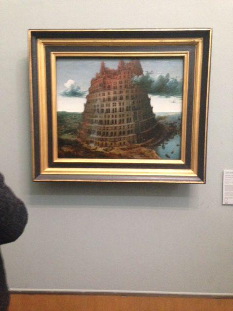 De toren van pisa. Op dit schilderij is precies geverfd van welk materiaal de toren is gebouwd en hoelang hij al staat