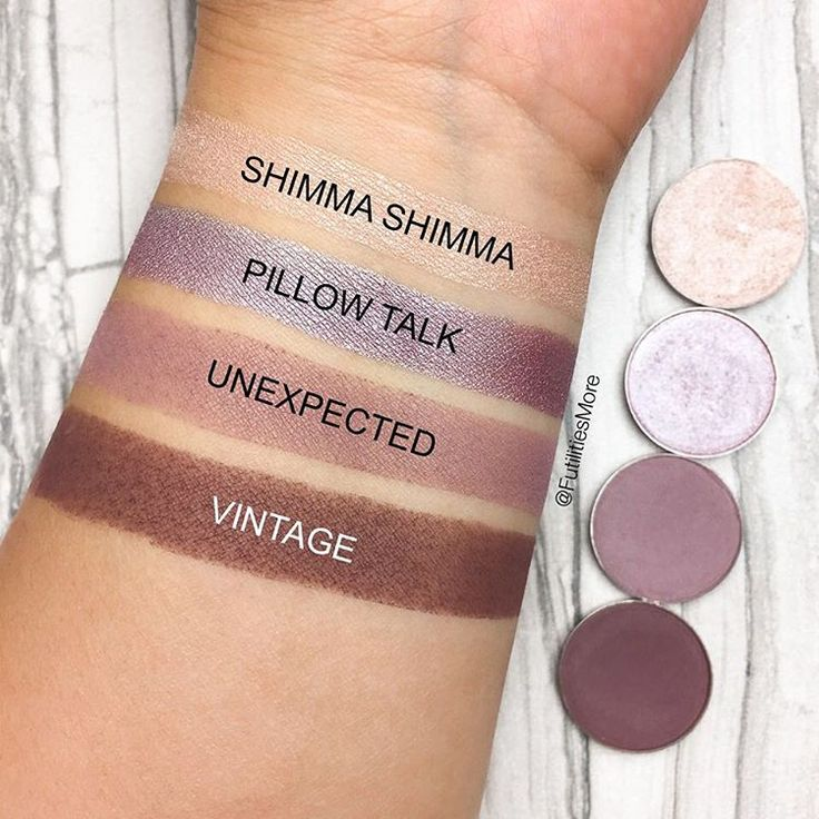 Loving these swatches by @futilitiesmore. Makeup Geek Eyeshadows in Shimma Shimma, Pillow Talk, Unexpected, and Vintage.