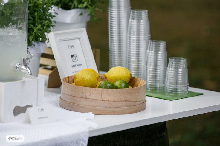 Rustic wedding in the countryside. Lemonade stand.
