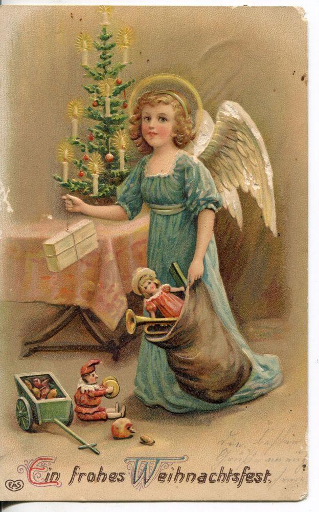 § Nr 171  Weihnachten Prägekarte Christkind Christbaum Geschenke Kasper Puppe