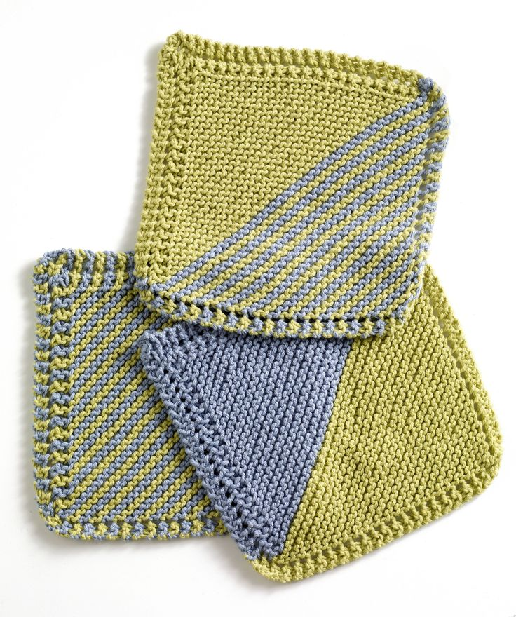 Garter Square Washcloths (Knit) | Knit dishcloth, Knitted ...