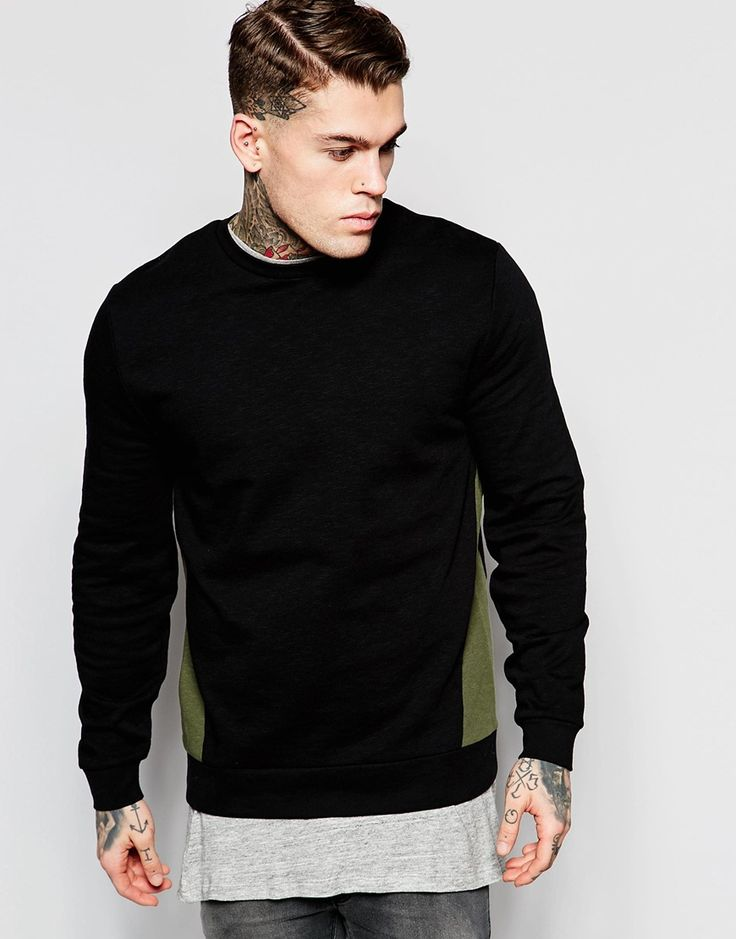 Image 1 ofASOS Sweatshirt With Khaki Cut & Sew In Black