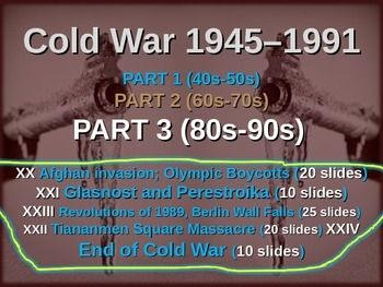 This download includes all 5 of the PowerPoints described below as well as the graphic organizer in PDF and MS WORD format.  The graphic organizer handout has been formatted to fit perfectly on one paper (2 pages, front and back).  Enjoy!1 Soviet Invasion of Afghanistan; Olympic Boycotts (20 slides)step-by-step events, with commentary from Uncle Sam and the Russian Bear, statistics on the medal counts from 1980 and 1984, links to videos, and much more...2 Glasnost and Perestroika (10…