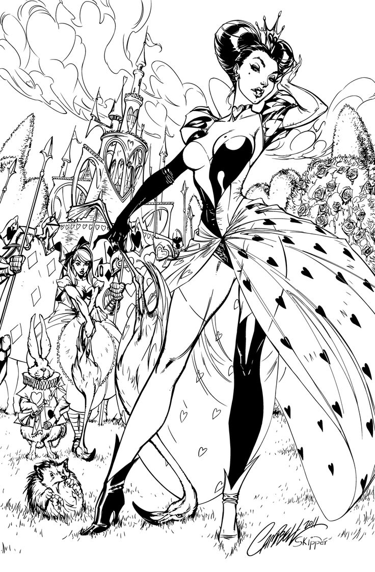 Coloring page queen of hearts - Feel Free To Color Just Make Sure To Credit Pencils Inks Inked With Manga Studio 5 And Wacom Queen Of Hearts Inks