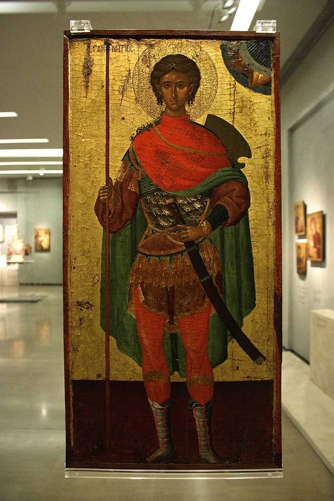 Dimitrios, soldier youth. Skin colour used is very caramel. Byzantine Museum, Greece.