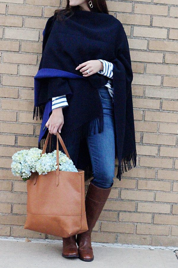 jillgg's good life (for less)   a west michigan style blog: everyday style: fall must-haves with Banana Republic! #preppysytle #easyoutfit #whattowearforfall #falloutfit #cape #poncho #stripes #winteroutfit #hydrangeas #jcrew