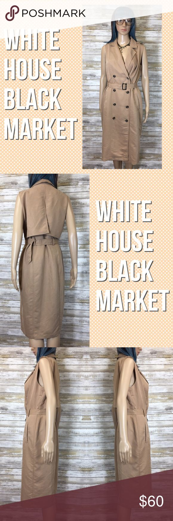 "White House Black Market Sleeveless Trench Dress Made from a soft, lightweight fabrication, this trench coat-inspired design is beyond chic. It features iconic epaulettes, notched lapels, a storm flap and an optional self-belt for an hourglass shape. In a beautiful shade of Khaki. Sleeveless trench dress, fully lined, material: modal/polyester. Machine wash, cold. Size 6. Measurements: Armpit to armpit: 17""; waist: 13.5""; bottom hem: 19""; length: 36""; hips: 17"". White House Black Market…"