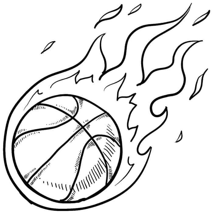 Basketball On Fire Coloring Pages Sports Coloring Pages Coloring Pages For Kids Coloring Pages