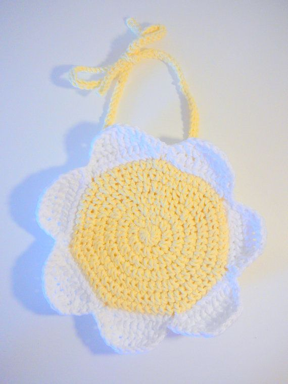 >> Click to Buy << Crochet Baby Bib - Baby Shower or Baptism Gift - Yellow flowerBaby Chick - Funny baby bib Great Photo Prop #Affiliate