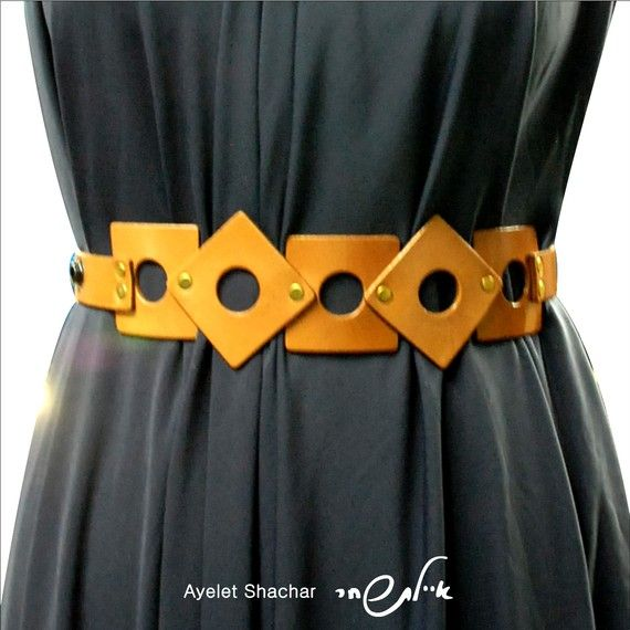 Square On Square  Leather Belt Natural Color  by AyeletShachar, $77.00
