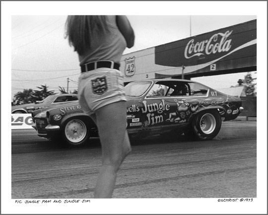 "1973 — ""Jungle Pam"" Hardy and ""Jungle Jim"" Liberman with his Chevy Vega Funny Car. You'd be hard-pressed to say who was hotter back in the '70s– &#82…"
