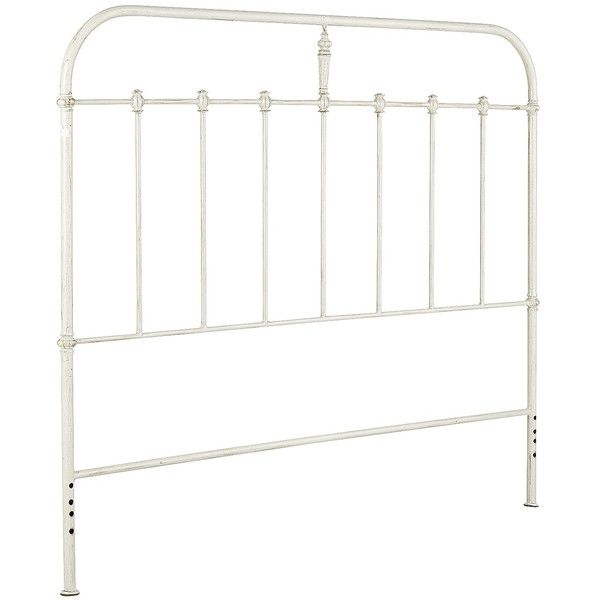 Pier 1 Imports Darcey Ii Cast Iron Metal Queen Antique Headboard ($220) ❤ liked on Polyvore featuring home, furniture, beds, white, metal headboards, queen metal headboard, antique metal beds, antique beds and antique white headboard