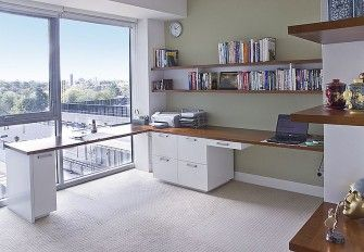 Wall unit size: 2.5m wide x 2.7m high x 0.4m deep  Desk size: 3.3m wide along first wall, 2.1m wide along second wall, 0.8m high, 0.6m deep  Material: Painted Dulux Whisper White, clear satin lacquer finish 30% gloss. American Cherry veneer features and a solid timber edge to the desktop.