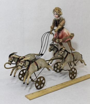 RARE Antique German Mechanical Bisque Circus Doll Donkeys Pull Toy | eBay