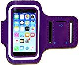 iPhone 5/5S/5c SE Running & Exercise Armband with Key Holder & Reflective Band | Also Fits iPhone 4/4S (Purple)