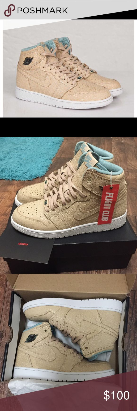 "Air Jordan 1 Retro High GS ""Pearl"" Brand new from Flight Club with original box. Color: Sand Dune/Cannon - Flat Gold Nike Shoes Sneakers"