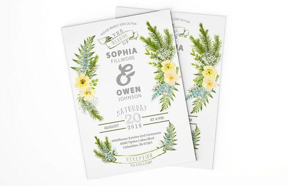 Wedding invitation, printable invitation, wedding invites, rustic wedding, wildflowers wedding invitation, shabby chic wedding invitation #OBercailDesign