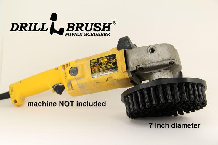 7 Inch Diameter Black Stiff Bristle Powered Scrub Brush