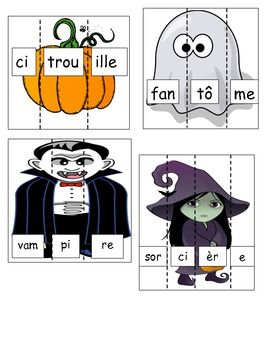 Print, laminate and cut on dotted lines to create a Halloween themed Literacy Centre in French.