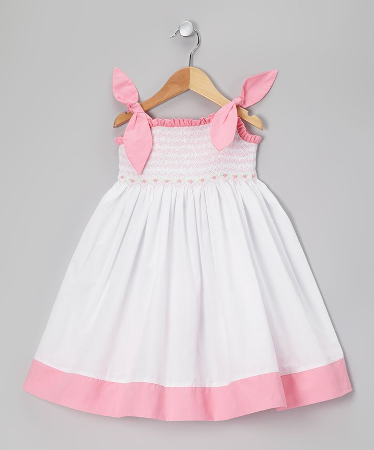 White & Pink Smocked Dress - Toddler | Daily deals for moms, babies and kids