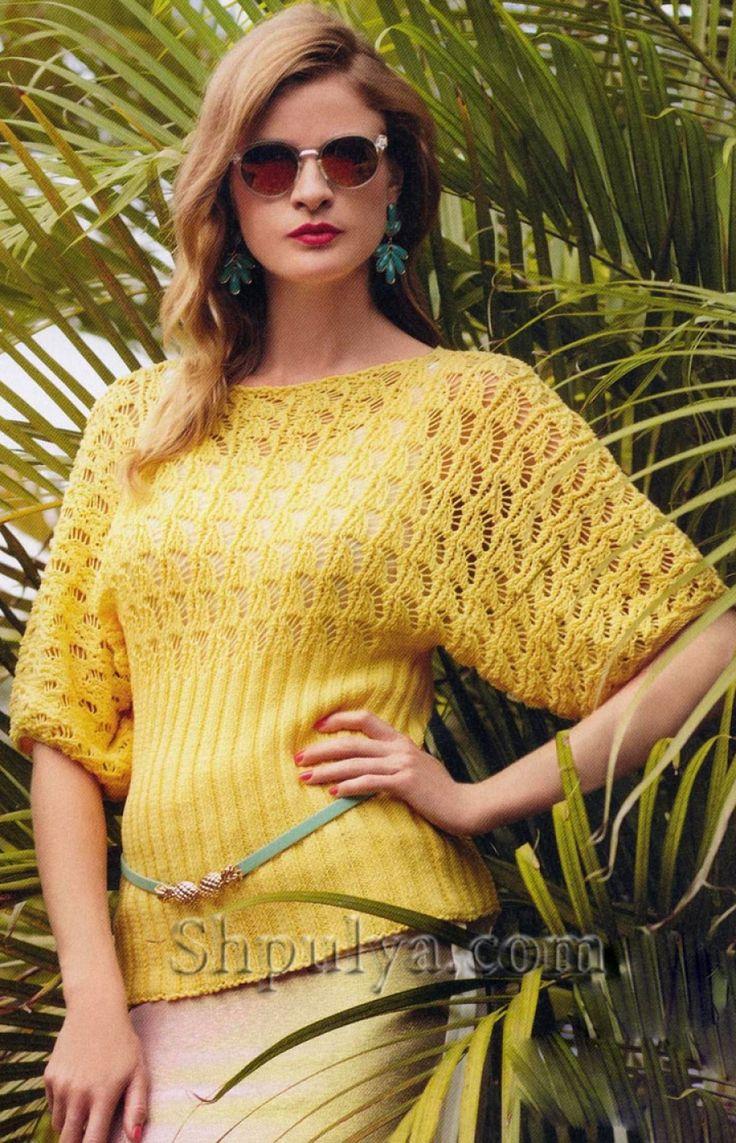 Ажурный пуловер с цельнокройными рукавами