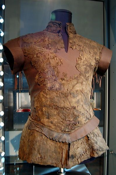 leather jerkin.1550-75 goatskin, closure at neck and left side. Found in Middelburg, Netherlands.