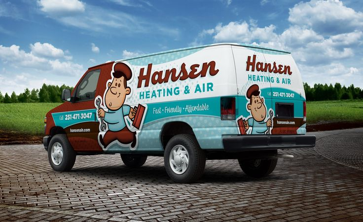Retro-themed HVAC truck wrap design and fleet branding for a heating and air…