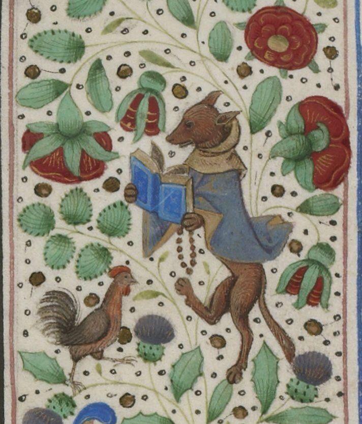 Le Renard joue au moine pour attraper le coq...