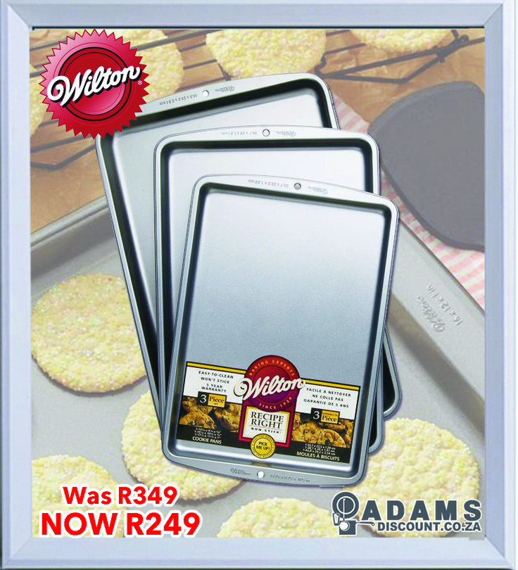 Now available at Adams is This Recipe Right Cookie Pan Set that comes in a set of three. The different sizes allow you to pick one for almost any creation. Their heavy-gauge construction allows heat to spread over your food evenly and prevents warping. The cooking surface is coated with a non-stick material that provides quick release and easy clean-up. The non-stick baking pans are durable, and available at the low price of only R249 (was R349)!