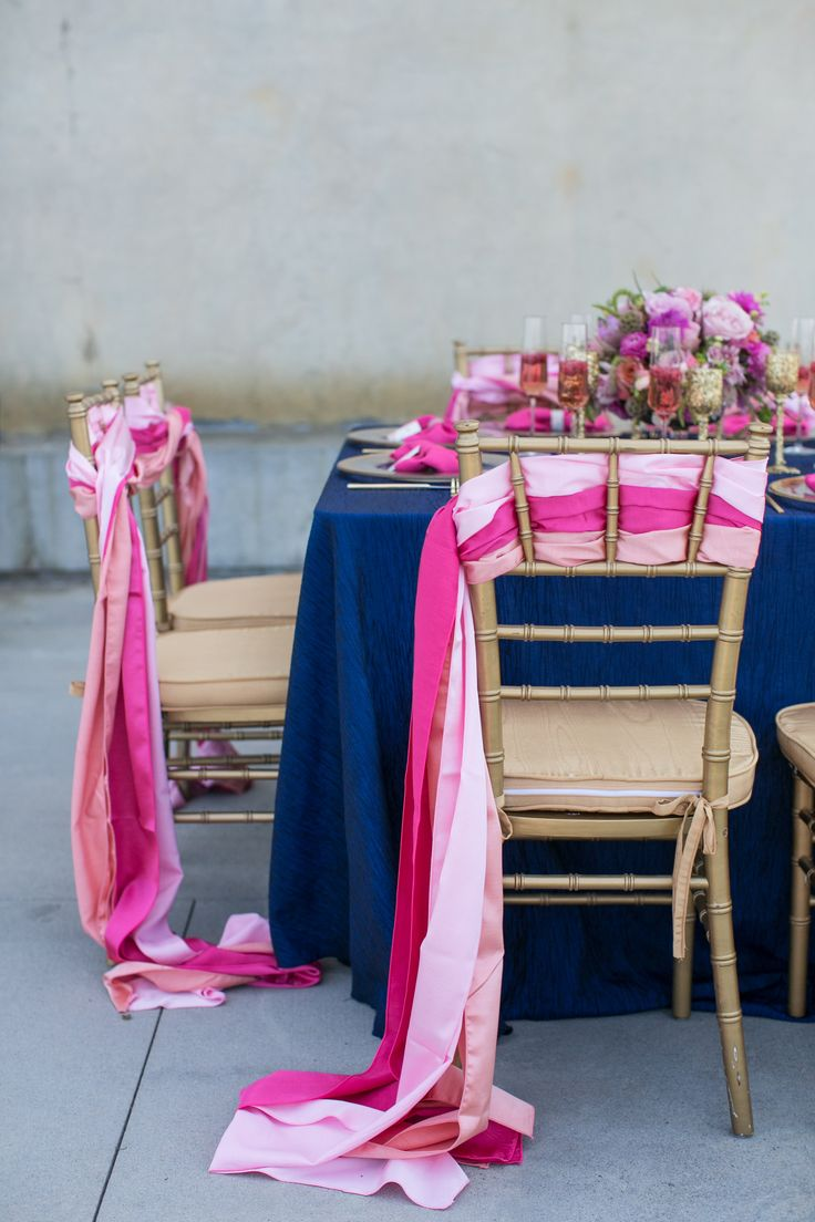 Southern Sparkle Styled Shoot. Charleston Aquarium.  Navy, Pink and Gold Wedding Inspiration. Gold Chivari Chair Decor